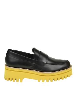 Paloma Barceló Palomitas Black Leather Loafers