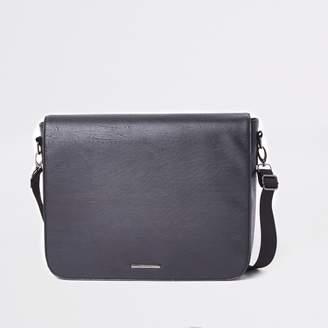 River Island Mens Black flapover satchel bag