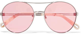 Chloé Aviator-style Gold-tone Sunglasses - Pink