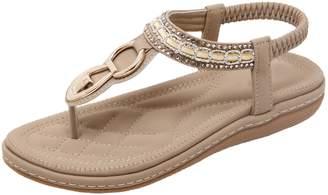 8ef4ba554ba7 BIGTREE Women Bohemian Thong Sandals Summer Beach Slingback Metal  Rhinestone Handmade Flats Sandals