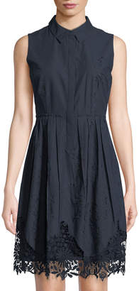 T Tahari Melitta Sleeveless Lace-Hem Shirtdress