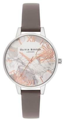 Olivia Burton Abstract Floral Leather Strap Watch, 34mm