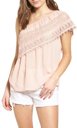 Women's Socialite Crochet One-Shoulder Top $39 thestylecure.com