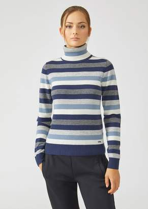 Emporio Armani Turtleneck In Colourful Striped Virgin Wool And Cashmere
