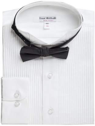 Isaac Mizrahi Boy's SH9250 Wing Tip Long Sleeve Tuxedo Shirt with Bowtie
