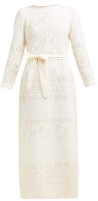 Innika Choo Etta Broderie Anglaise Cotton Dress - Womens - Beige