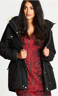 City Chic Citychic Black London Look Fur Trim Parka