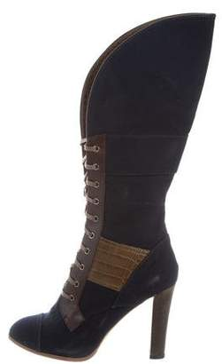 Reed Krakoff Alligator-Accented Lace-Up Boots