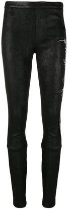 Haider Ackermann floral-embroidered leather leggings