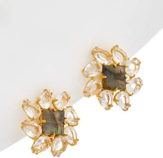 Bounkit 14K Plated Clear Quartz Earrings
