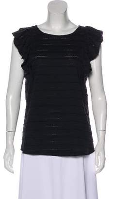 Hatch Ruffle-Accented Sleeveless Top