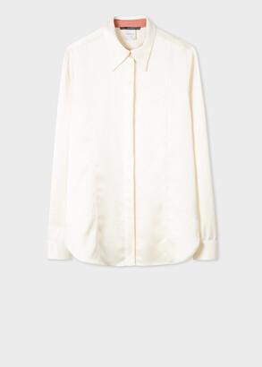 Paul Smith Women's Cream Satin Panelled Shirt