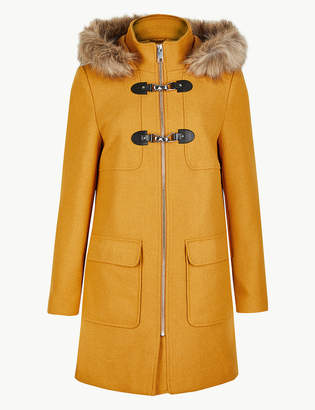 Marks and Spencer PETITE Faux Fur Duffle Coat
