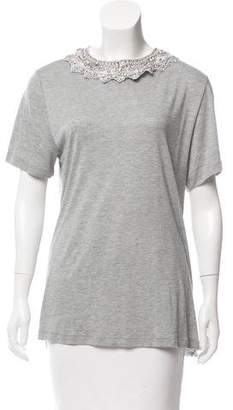 Haute Hippie Embellished Collar Short Sleeve T-Shirt w/ Tags