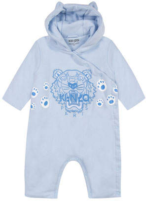 Kenzo Hooded Fleece Coverall w/ Tiger Icon Embroidery, Size 6-18 Months