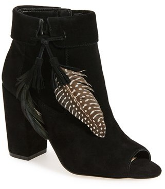 Women's Jessica Simpson 'Kailey' Feather Charm Peep Toe Bootie $128.95 thestylecure.com