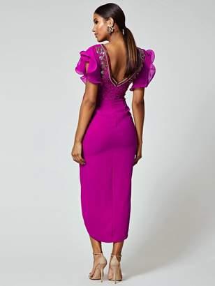 Virgos Lounge Frill Sleeve Embellished Midi Dress - Pink