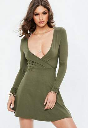 Missguided Khaki Long Sleeve Jersey Wrap Skater Dress