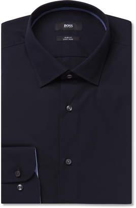 HUGO BOSS Midnight-Blue Slim-Fit Jesse Cotton-Poplin Shirt