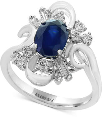 Effy Royale Bleu by Sapphire (1-3/8 ct. t.w.) and Diamond (3/8 ct. t.w.) Ring in 14k White Gold