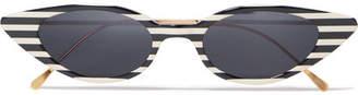 Illesteva Marianne Cat-eye Striped Acetate And Gold-tone Sunglasses - Black
