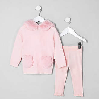 River Island Mini girls Pink faux fur hoodie outfit