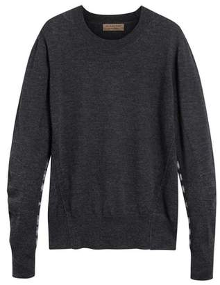 Burberry Check Detail Merino Wool Sweater