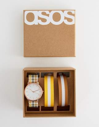 Asos DESIGN watch with 3 interchangeable check and stripe straps