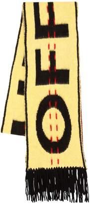 Fringed Logo Intarsia Wool Knit Scarf