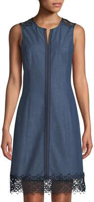 Karl Lagerfeld Paris Lace-Trim Denim A-Line Dress