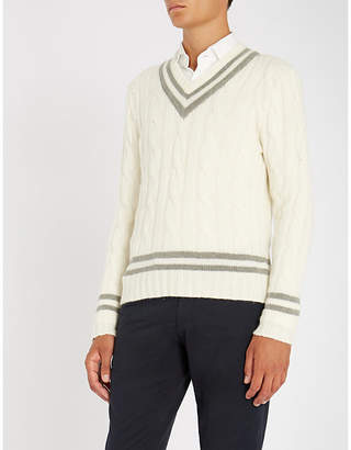 Ralph Lauren Purple Label V-neck cable-knit cashmere jumper