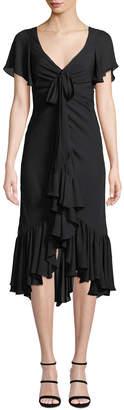 Cinq à Sept Mateo Tie-Front Ruffle Silk Midi Dress