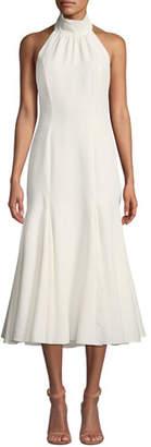 Milly Penelope Italian Cady Halter Dress w/ Open Back