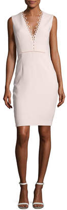 Elie Tahari Saylah Sleeveless Lace-Trim Sheath Dress, Pink $398 thestylecure.com