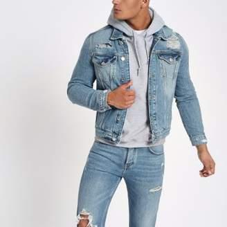River Island Blue classic fit ripped denim jacket