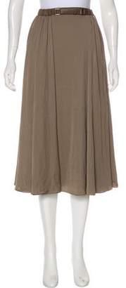 Halston Pleated Midi Skirt