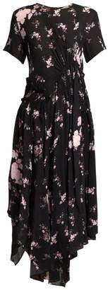 Preen Line Lois Ruched Floral Print Chiffon Dress - Womens - Black Multi