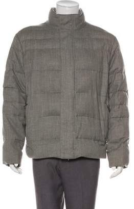 Canali Wool Zip-Up Puffer Jacket
