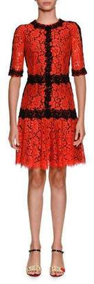 Dolce & Gabbana Jewel-Neck Elbow-Sleeve Lace Cocktail Dress w/ Contrast Lace Piping