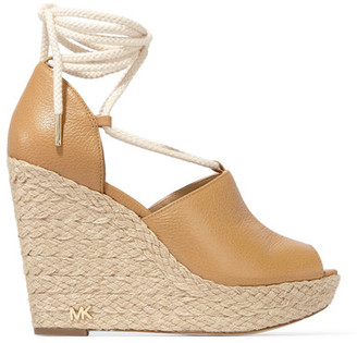 MICHAEL Michael Kors - Hastings Textured-leather Espadrille Wedge Sandals - Beige $145 thestylecure.com