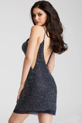 Jovani - 58588 Beaded Backless Thin Straps Short Dress $550 thestylecure.com