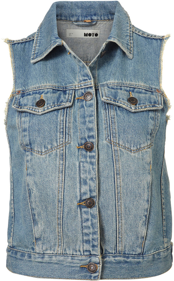 MOTO Sleeveless Denim Jacket