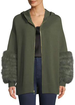 Alice + Olivia Joey Fur-Cuff Zip-Front Wool-Blend Hoodie Sweater