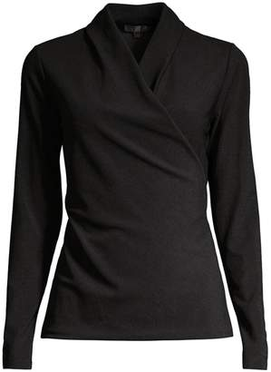 Donna Karan Long-Sleeve Wrap Top