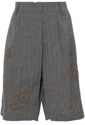 Brunello Cucinelli Embellished Striped Wool And Linen-Blend Shorts