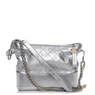Chanel Gabrielle Hobo Diamond Gabrielle Quilted Aged Medium Metallic Silver