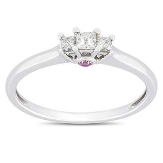 Trilogy JeenJewels Mesmerizing Three Stone Sapphire Three Stone Engagement ring Half Carat Princess Cut Diamond on Gold