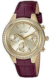 Bulova Women's Quartz Stainless Steel and Leather Casual Watch, Color:Purple (Model: 44L182) $135 thestylecure.com