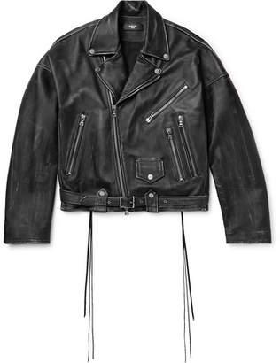 Amiri Distressed Leather Biker Jacket