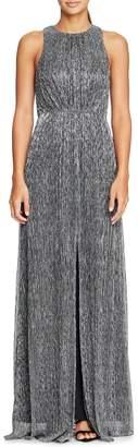 Halston Sleeveless Metallic Mesh Gown